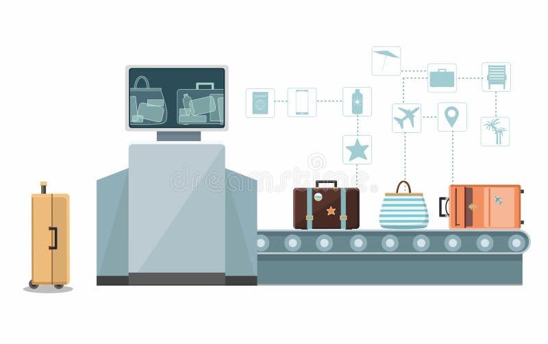 Έλεγχος αποσκευών, ανιχνευτής συνήθειας στον αερολιμένα Infographic απεικόνιση αποθεμάτων