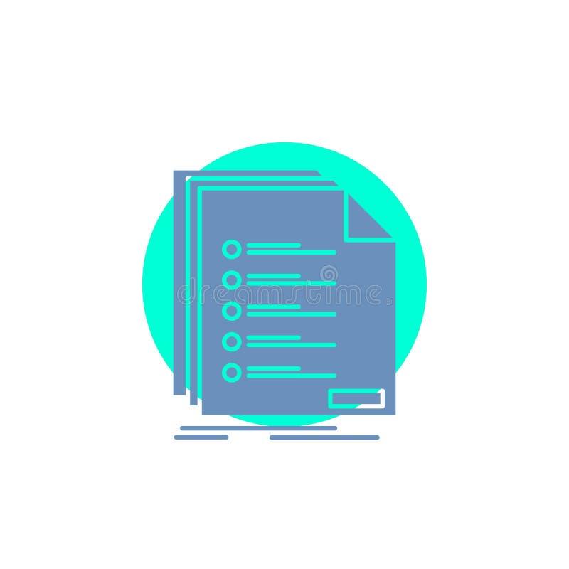 Έλεγχος, αρχειοθέτηση, κατάλογος, λίστα, εικονίδιο Glyph εγγραφής απεικόνιση αποθεμάτων