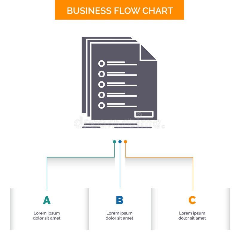Έλεγχος, αρχειοθέτηση, κατάλογος, λίστα, σχέδιο διαγραμμάτων επιχειρησιακής ροής εγγραφής με 3 βήματα Εικονίδιο Glyph για το υπόβ απεικόνιση αποθεμάτων