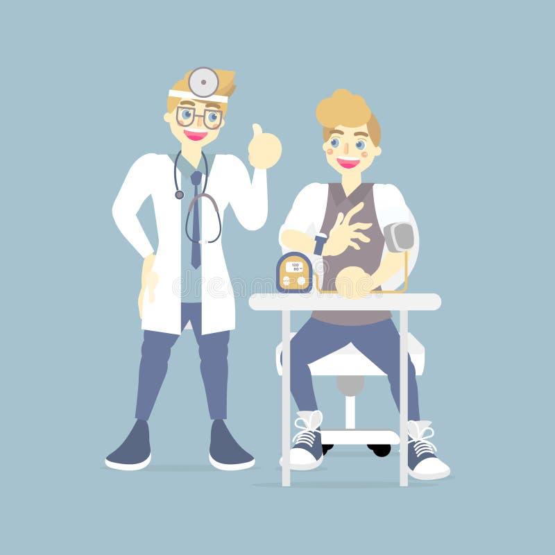 έλεγχος γιατρών, που φροντίζει μετρώντας τη πίεση του αίματος για τον ασθενή, υγειονομική περίθαλψη, έννοια ιατρικής εξέτασης διανυσματική απεικόνιση