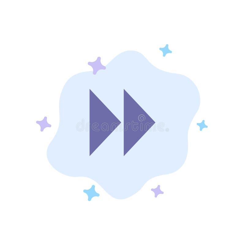 Έλεγχος γρήγορα, προς τα εμπρός, μέσα, τηλεοπτικό μπλε εικονίδιο στο αφηρημένο υπόβαθρο σύννεφων ελεύθερη απεικόνιση δικαιώματος