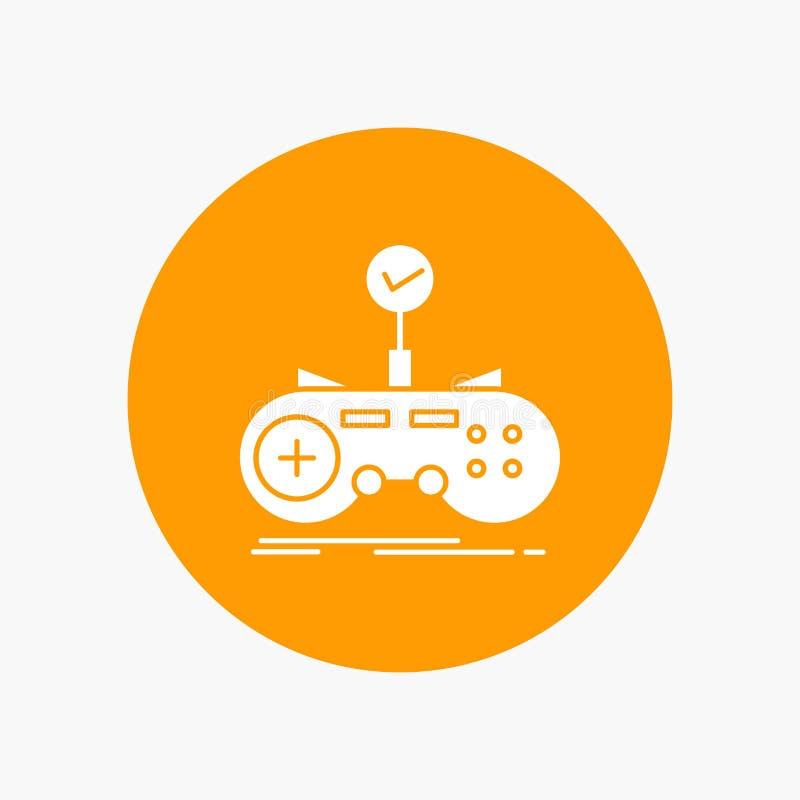 Έλεγχος, ελεγκτής, παιχνίδι, gamepad, άσπρο εικονίδιο Glyph τυχερού παιχνιδιού στον κύκλο Διανυσματική απεικόνιση κουμπιών ελεύθερη απεικόνιση δικαιώματος