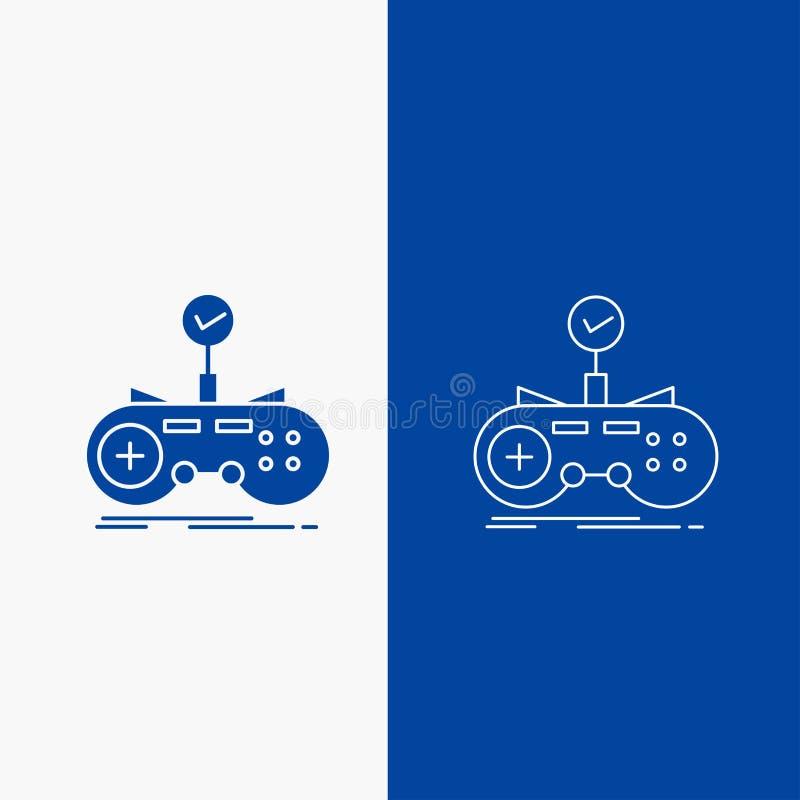 Έλεγχος, ελεγκτής, παιχνίδι, gamepad, γραμμή τυχερού παιχνιδιού και κουμπί Ιστού Glyph στο μπλε κάθετο έμβλημα χρώματος για UI κα απεικόνιση αποθεμάτων
