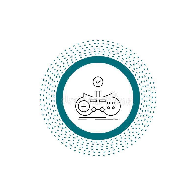 Έλεγχος, ελεγκτής, παιχνίδι, gamepad, εικονίδιο γραμμών τυχερού παιχνιδιού : διανυσματική απεικόνιση