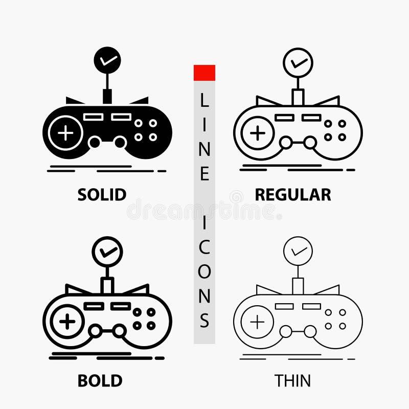 Έλεγχος, ελεγκτής, παιχνίδι, gamepad, εικονίδιο τυχερού παιχνιδιού στη λεπτά, κανονικά, τολμηρά γραμμή και το ύφος Glyph r διανυσματική απεικόνιση