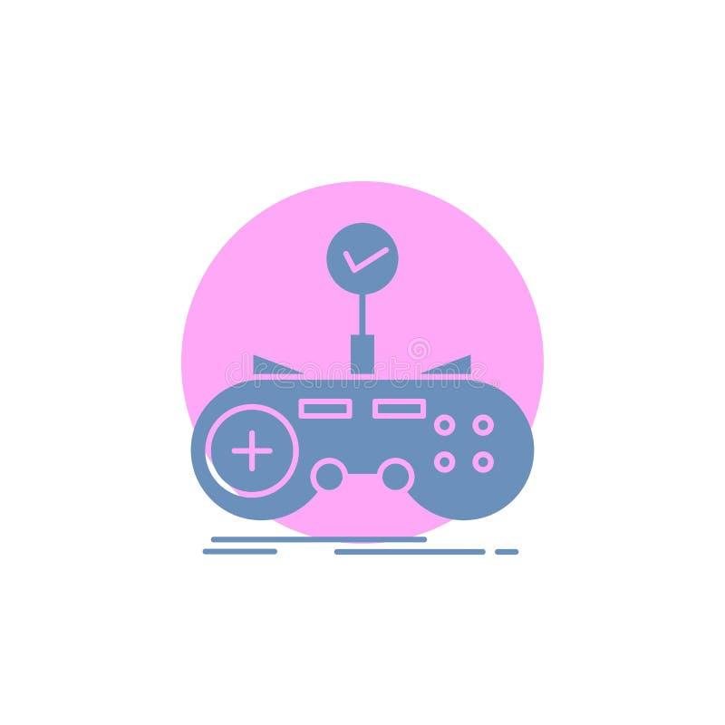 Έλεγχος, ελεγκτής, παιχνίδι, gamepad, εικονίδιο Glyph τυχερού παιχνιδιού απεικόνιση αποθεμάτων