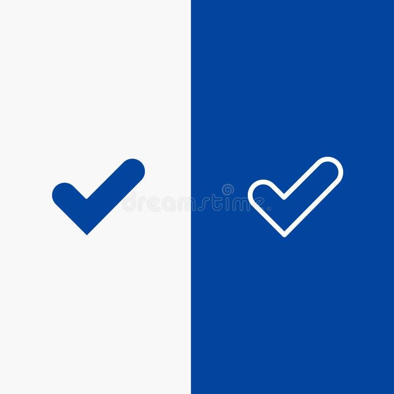 Έλεγχος, εντάξει, κρότωνας, καλή γραμμή και στερεά γραμμή εμβλημάτων εικονιδίων Glyph μπλε και στερεό μπλε έμβλημα εικονιδίων Gly διανυσματική απεικόνιση
