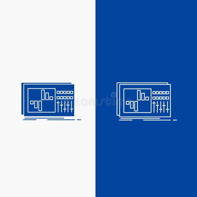 έλεγχος, εξισωτής, εξίσωση, ήχος, γραμμή στούντιο και κουμπί Ιστού Glyph στο μπλε κάθετο έμβλημα χρώματος για UI και UX, ιστοχώρο διανυσματική απεικόνιση