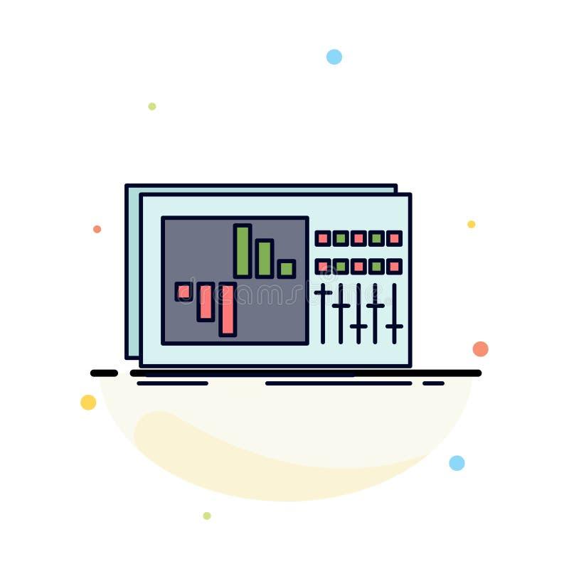 έλεγχος, εξισωτής, εξίσωση, ήχος, επίπεδο διάνυσμα εικονιδίων χρώματος στούντιο απεικόνιση αποθεμάτων
