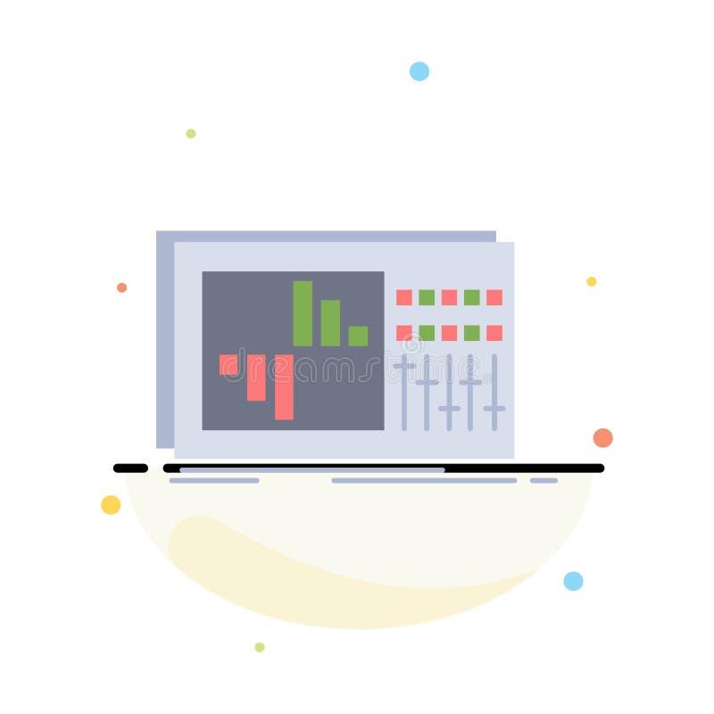 έλεγχος, εξισωτής, εξίσωση, ήχος, επίπεδο διάνυσμα εικονιδίων χρώματος στούντιο ελεύθερη απεικόνιση δικαιώματος