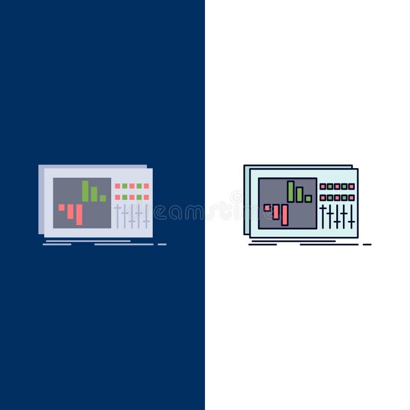 έλεγχος, εξισωτής, εξίσωση, ήχος, επίπεδο διάνυσμα εικονιδίων χρώματος στούντιο διανυσματική απεικόνιση