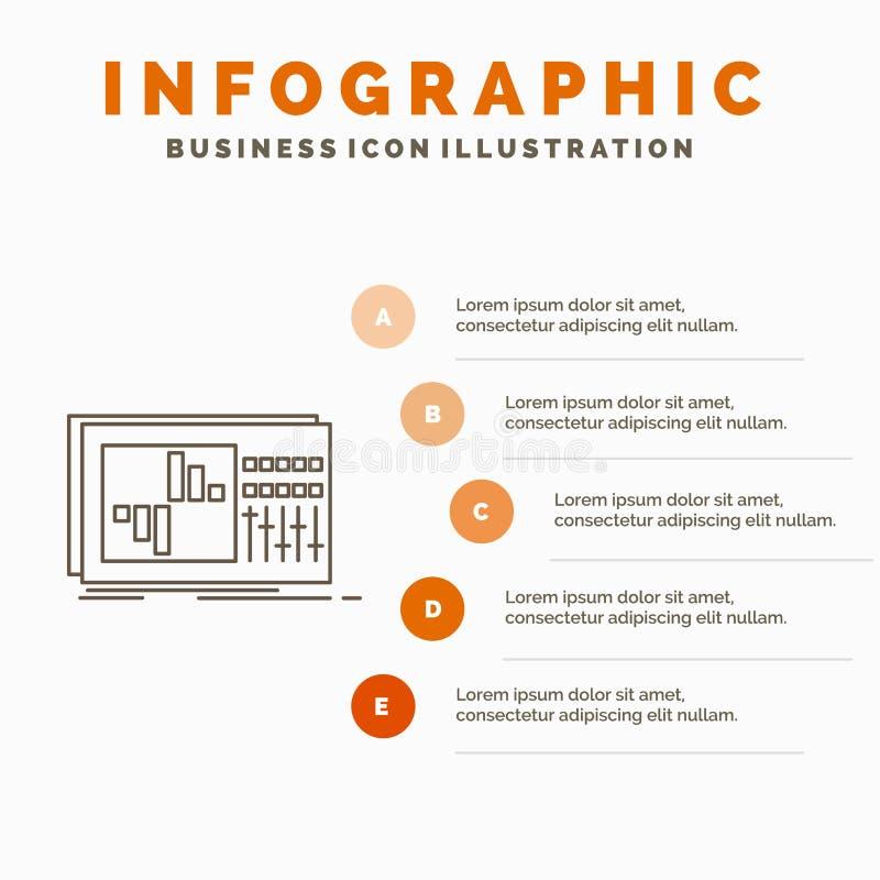 έλεγχος, εξισωτής, εξίσωση, ήχος, πρότυπο Infographics στούντιο για τον ιστοχώρο και παρουσίαση Γκρίζο εικονίδιο γραμμών με το πο ελεύθερη απεικόνιση δικαιώματος
