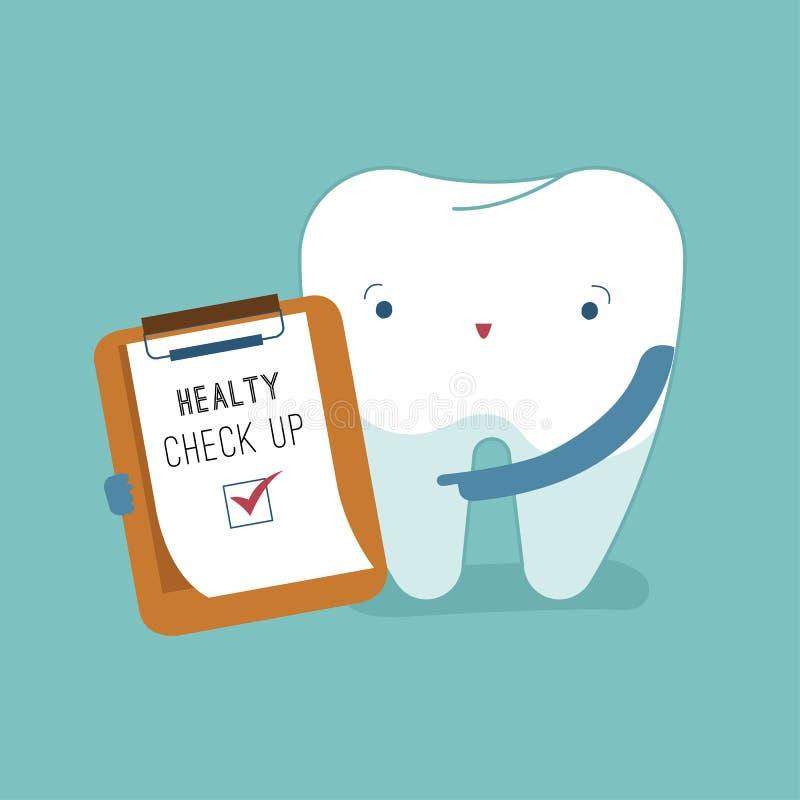 Έλεγχος επάνω για καλό υγιή της έννοιας οδοντικών, κινούμενων σχεδίων δοντιών διανυσματική απεικόνιση