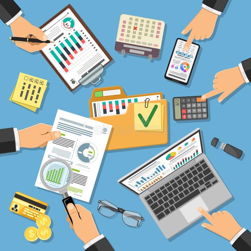 Έλεγχος εργασιακών χώρων, φορολογική διαδικασία, λογαριασμός ελεύθερη απεικόνιση δικαιώματος