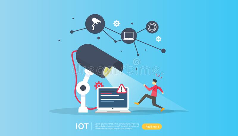Έλεγχος κάμερων ασφαλείας CCTV κλέφτης που συγκλονίζεται που ανιχνεύεται IOT Διαδίκτυο της έξυπνης έννοιας σπιτιών πραγμάτων για  διανυσματική απεικόνιση