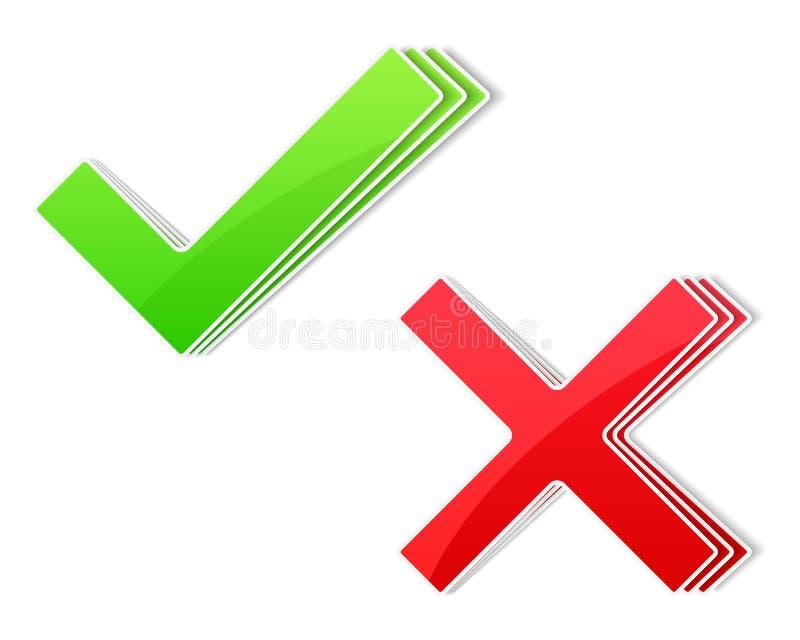 Έλεγχος και διαγώνια σύμβολα απεικόνιση αποθεμάτων