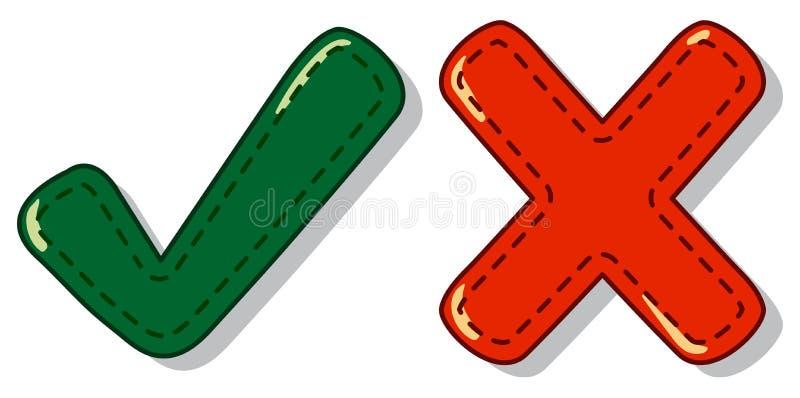 Έλεγχος και διαγώνιο σύμβολο σημαδιών ελεύθερη απεικόνιση δικαιώματος