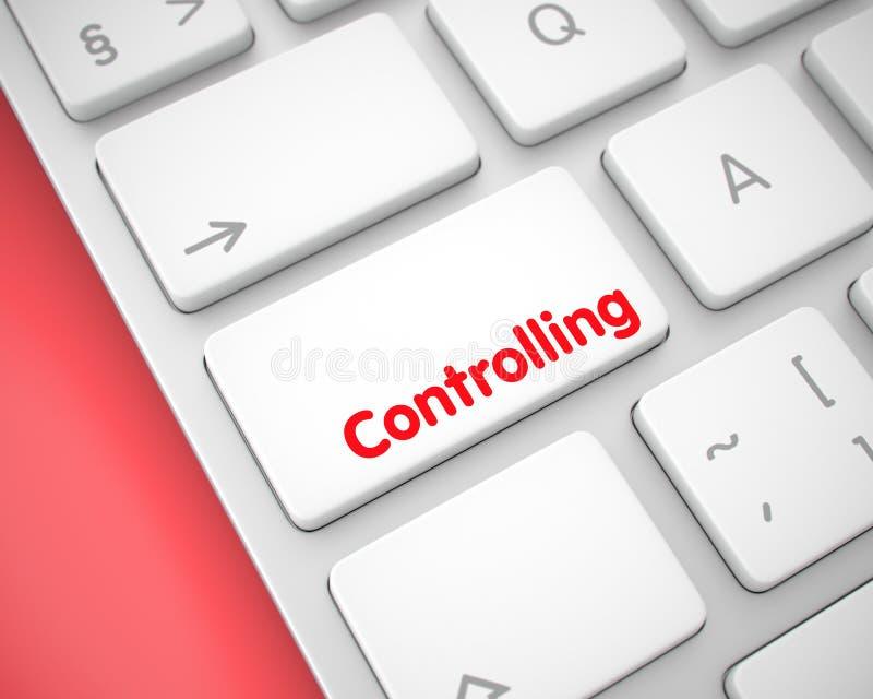 Έλεγχος - κείμενο στο άσπρο κουμπί πληκτρολογίων τρισδιάστατος απεικόνιση αποθεμάτων