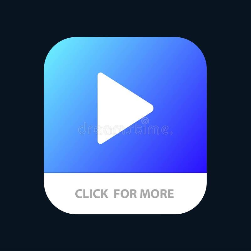 Έλεγχος, μέσα, παιχνίδι, τηλεοπτικό κινητό App κουμπί Αρρενωπή και IOS Glyph έκδοση διανυσματική απεικόνιση