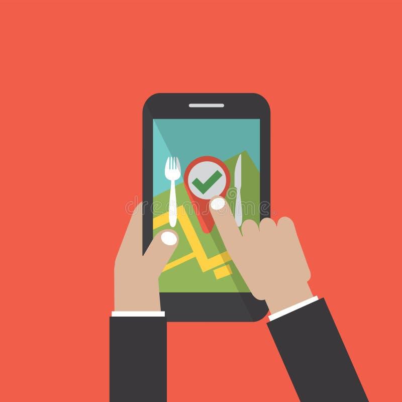 Έλεγχος μέσα στο εστιατόριο σε Smartphone διανυσματική απεικόνιση