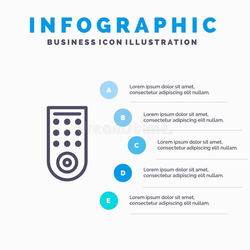 Έλεγχος, μακρινός, εικονίδιο γραμμών TV με το υπόβαθρο infographics παρουσίασης 5 βημάτων απεικόνιση αποθεμάτων