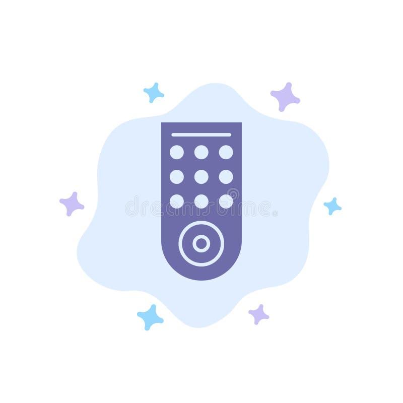 Έλεγχος, μακρινός, μπλε εικονίδιο TV στο αφηρημένο υπόβαθρο σύννεφων απεικόνιση αποθεμάτων