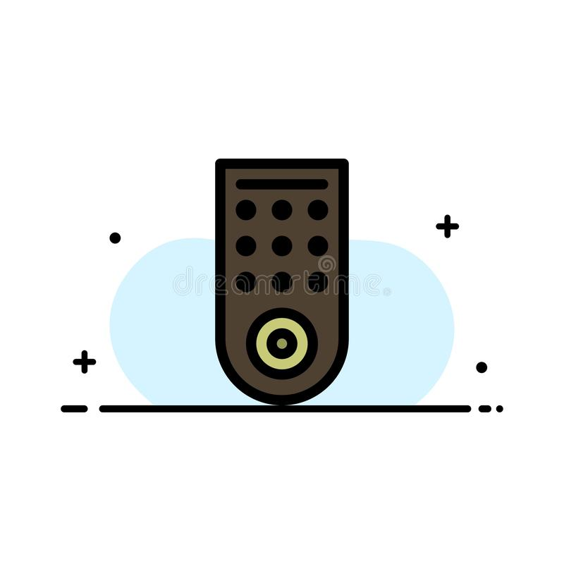 Έλεγχος, μακρινός, TV πρότυπο εμβλημάτων επιχειρησιακών επίπεδο γεμισμένο γραμμή εικονιδίων διανυσματικό απεικόνιση αποθεμάτων
