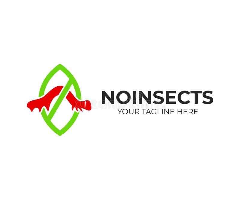 Έλεγχος παρασίτων και με τα έντομα, κάμπια σε ένα φύλλο με το αντι παράσιτο απαγόρευσης, σχέδιο λογότυπων Καλλιέργεια, αγρόκτημα, απεικόνιση αποθεμάτων