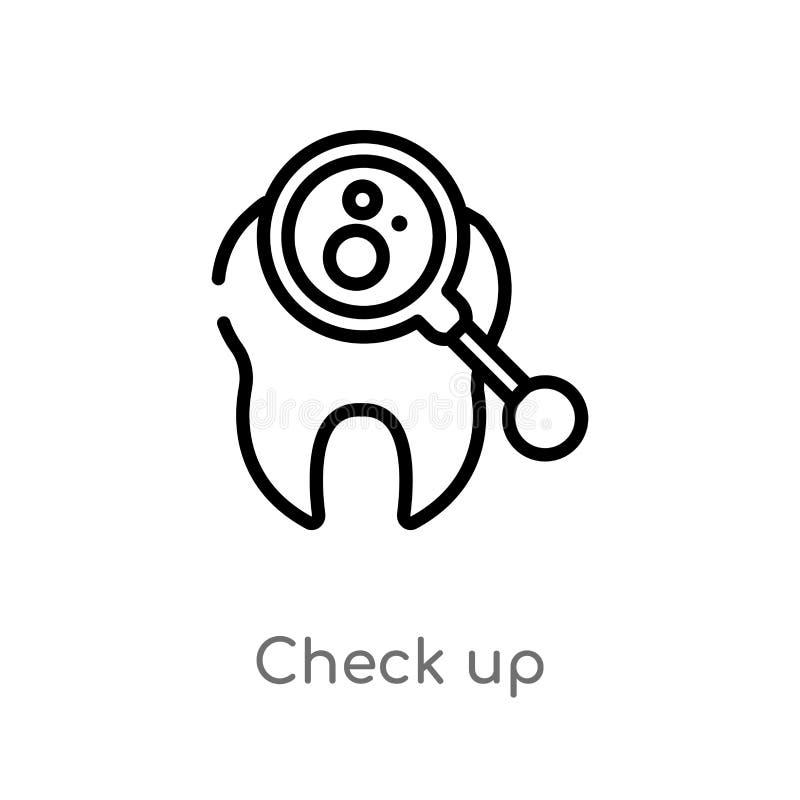 έλεγχος περιλήψεων επάνω στο διανυσματικό εικονίδιο απομονωμένη μαύρη απλή απεικόνιση στοιχείων γραμμών από την έννοια οδοντιάτρω ελεύθερη απεικόνιση δικαιώματος
