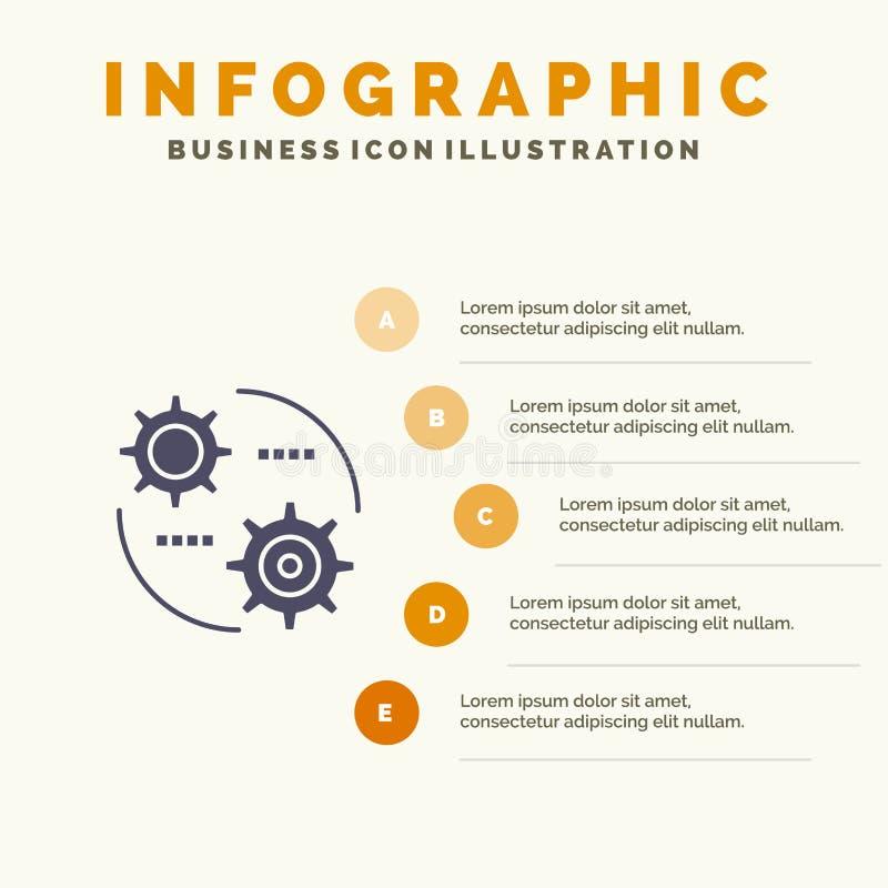 Έλεγχος, ρύθμιση, γρανάζια, ρύθμιση συμπαγούς εικονιδίου Infographics 5 βήματα Φόντο παρουσίασης διανυσματική απεικόνιση