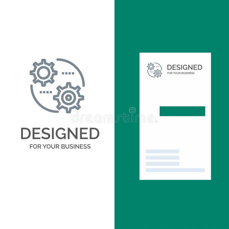Έλεγχος, ρύθμιση, εργαλείο, θέτοντας γκρίζο σχέδιο λογότυπων και πρότυπο επαγγελματικών καρτών διανυσματική απεικόνιση