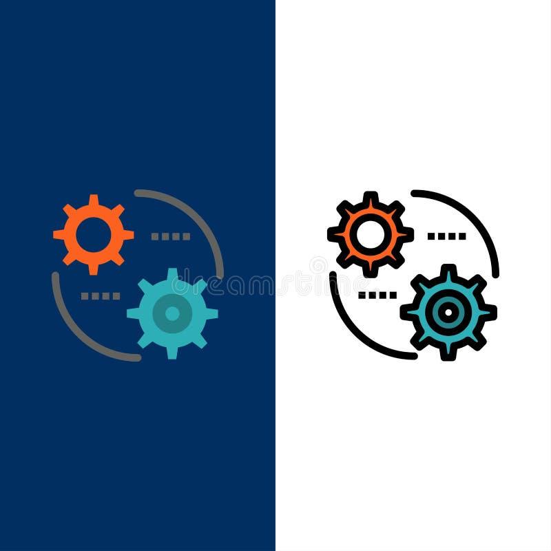 Έλεγχος, ρύθμιση, εργαλείο, θέτοντας εικονίδια Επίπεδος και γραμμή γέμισε το καθορισμένο διανυσματικό μπλε υπόβαθρο εικονιδίων διανυσματική απεικόνιση