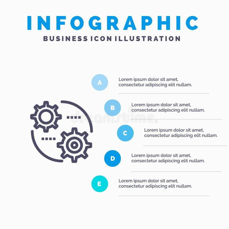 Έλεγχος, ρύθμιση, εργαλείο, θέτοντας εικονίδιο γραμμών με το υπόβαθρο infographics παρουσίασης 5 βημάτων ελεύθερη απεικόνιση δικαιώματος