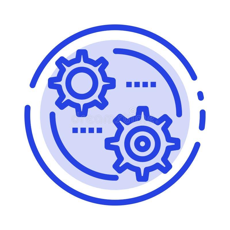 Έλεγχος, ρύθμιση, εργαλείο, θέτοντας μπλε εικονίδιο γραμμών διαστιγμένων γραμμών απεικόνιση αποθεμάτων