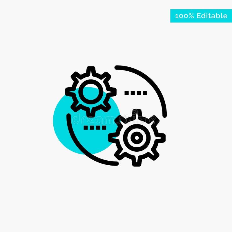 Έλεγχος, ρύθμιση, εργαλείο, θέτοντας τυρκουάζ σημείο κυριώτερων κύκλων διανυσματικό εικονίδιο ελεύθερη απεικόνιση δικαιώματος