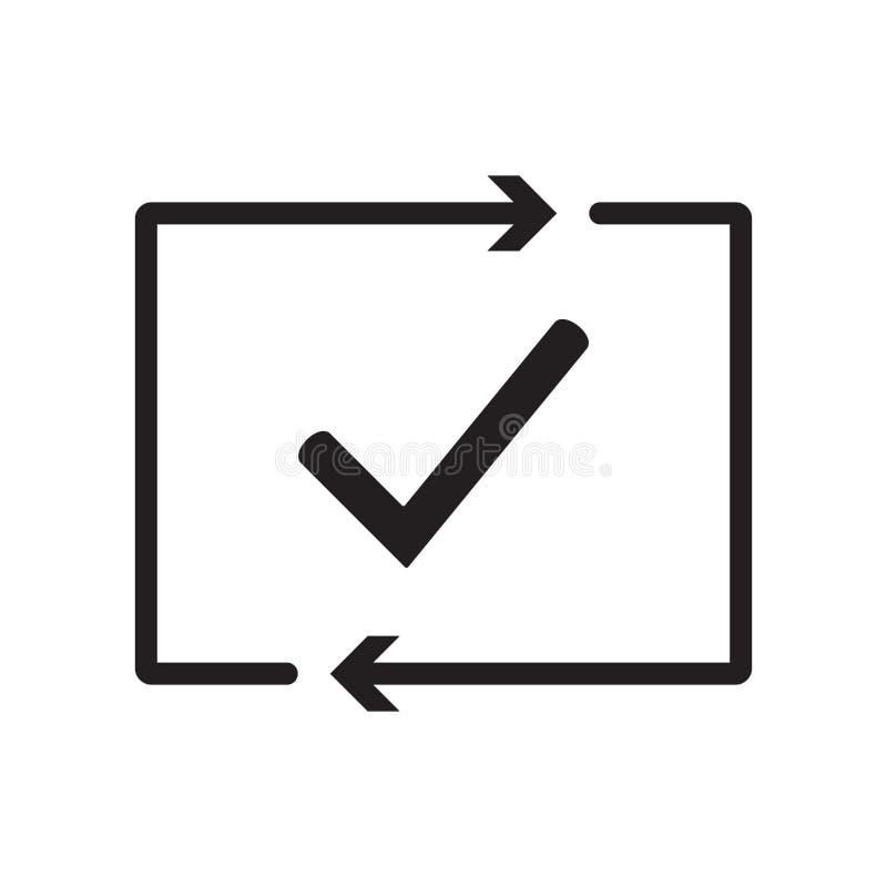 Έλεγχος του εικονιδίου διαδικασίας Επιτυχώς ελεγχμένος εγκεκριμένος δοκιμή CheckMark Σημάδι ελέγχου με τα βέλη Επαλήθευση και επι ελεύθερη απεικόνιση δικαιώματος
