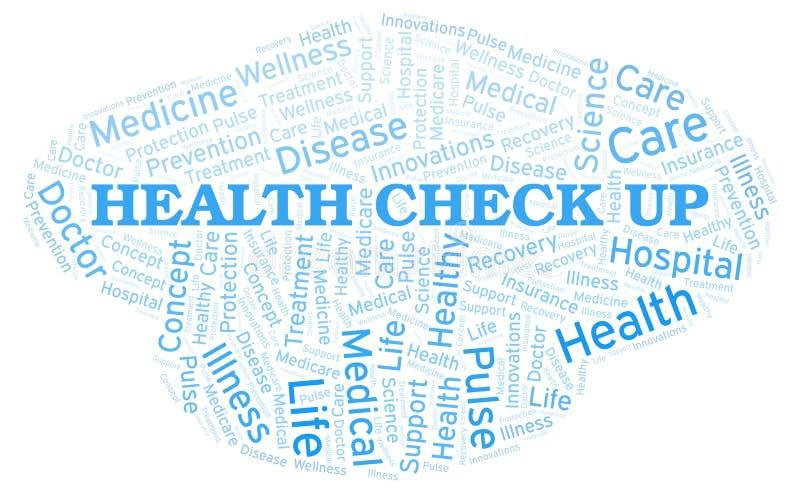 Έλεγχος υγείας επάνω στο σύννεφο λέξης ελεύθερη απεικόνιση δικαιώματος