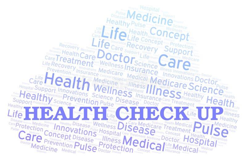 Έλεγχος υγείας επάνω στο σύννεφο λέξης διανυσματική απεικόνιση