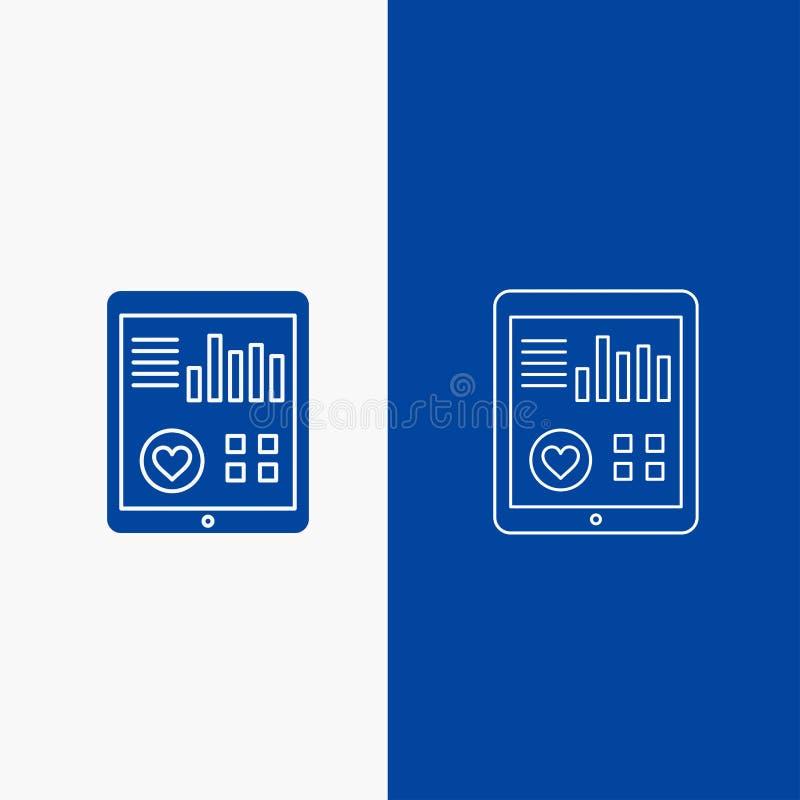 έλεγχος, υγεία, καρδιά, όσπριο, υπομονετικά γραμμή εκθέσεων και κουμπί Ιστού Glyph στο μπλε κάθετο έμβλημα χρώματος για UI και UX διανυσματική απεικόνιση