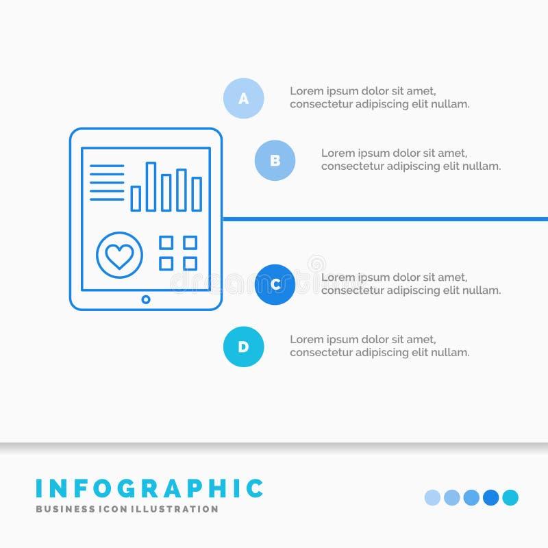 έλεγχος, υγεία, καρδιά, όσπριο, υπομονετικό πρότυπο Infographics εκθέσεων για τον ιστοχώρο και παρουσίαση Μπλε εικονίδιο γραμμών  ελεύθερη απεικόνιση δικαιώματος