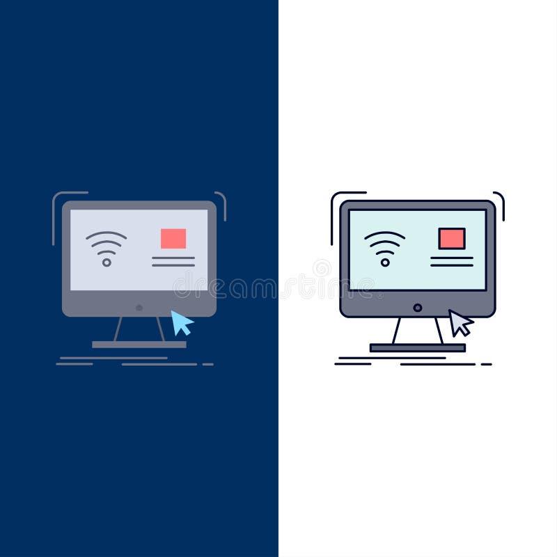Έλεγχος, υπολογιστής, όργανο ελέγχου, μακρινό, έξυπνο επίπεδο διάνυσμα εικονιδίων χρώματος διανυσματική απεικόνιση