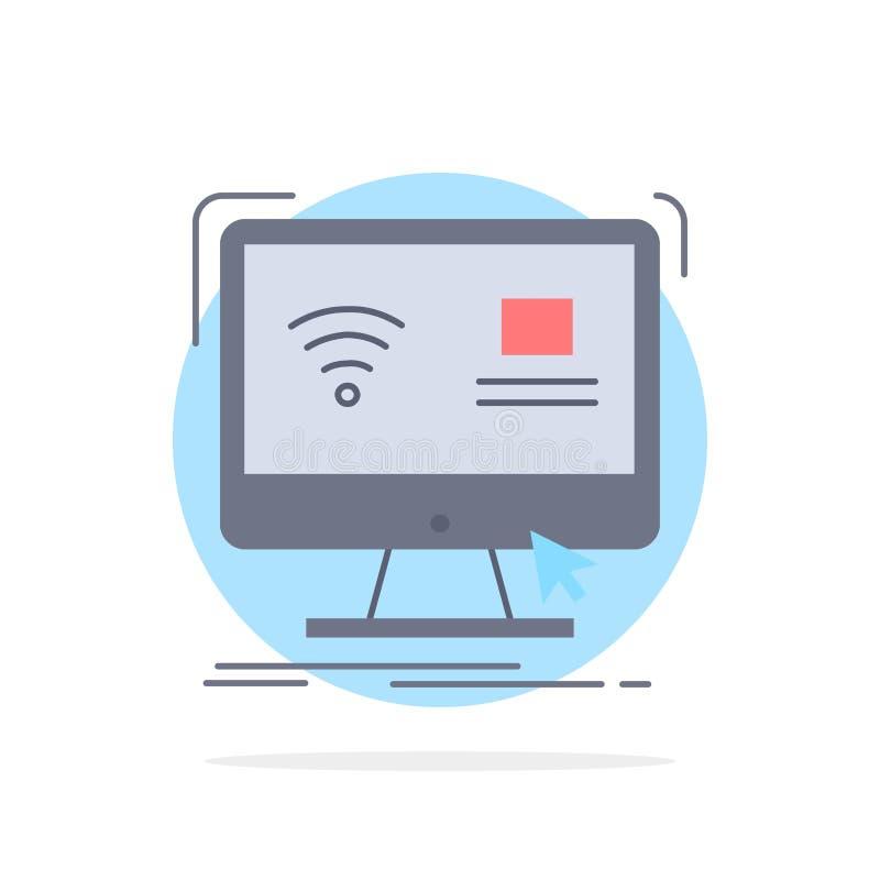 Έλεγχος, υπολογιστής, όργανο ελέγχου, μακρινό, έξυπνο επίπεδο διάνυσμα εικονιδίων χρώματος απεικόνιση αποθεμάτων