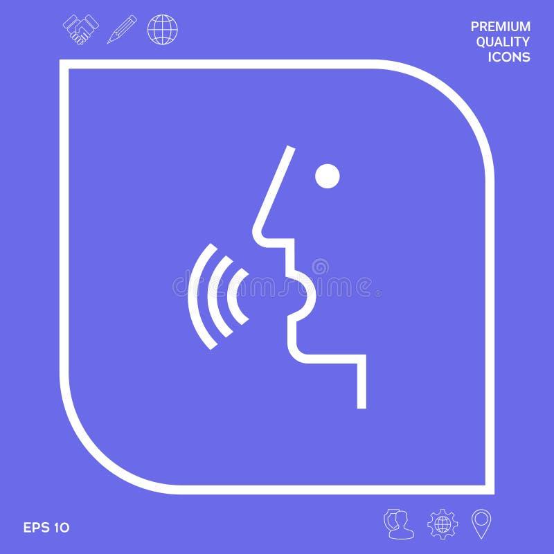Έλεγχος φωνής, πρόσωπο που μιλά - εικονίδιο Γραφικά στοιχεία για το σχέδιό σας διανυσματική απεικόνιση