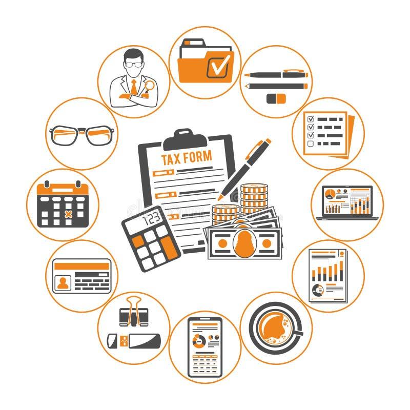 Έλεγχος, φόρος, λογαριασμός Infographics απεικόνιση αποθεμάτων