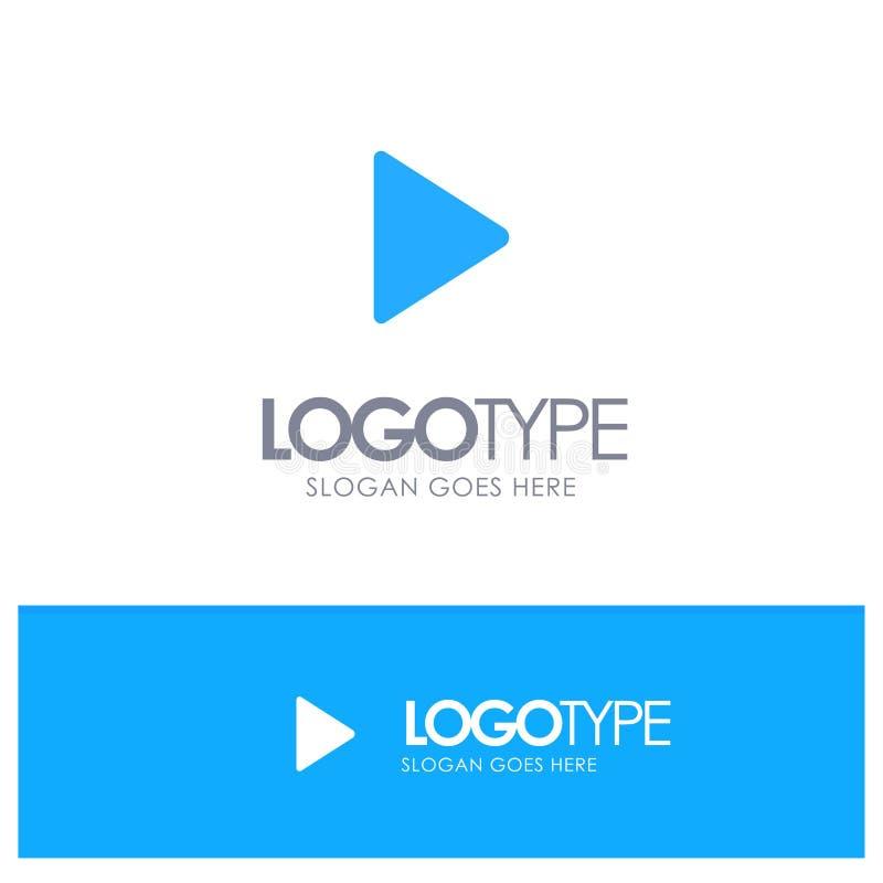 Έλεγχος, MEDIA, παιχνίδι, τηλεοπτικό μπλε στερεό λογότυπο με τη θέση για το tagline διανυσματική απεικόνιση