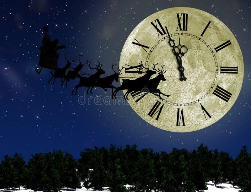 έλκηθρο santa ελαφιών Claus απεικόνιση αποθεμάτων
