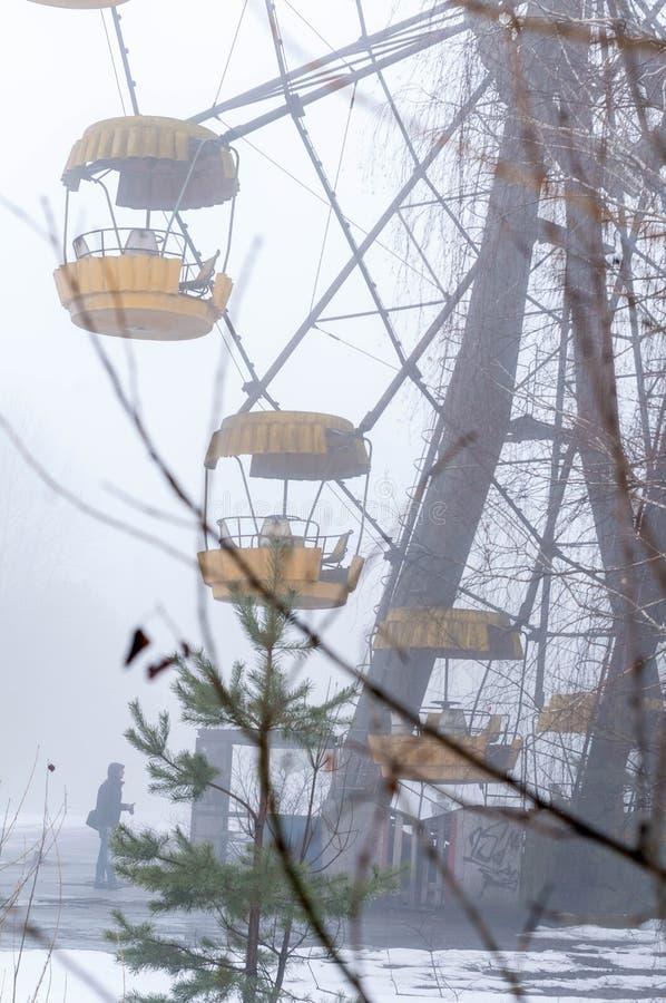 Έλξη ροδών ferris σκουριάς στην ομίχλη πίσω από τα δέντρα εγκαταλειμμένο στο χειμώνας λούνα παρκ στοκ εικόνα με δικαίωμα ελεύθερης χρήσης