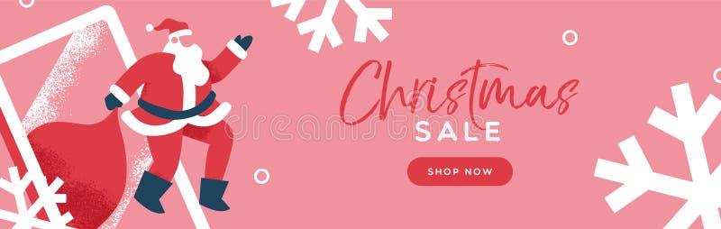 Έμβλημα Άγιος Βασίλης πώλησης Χριστουγέννων στο κινητό τηλέφωνο διανυσματική απεικόνιση