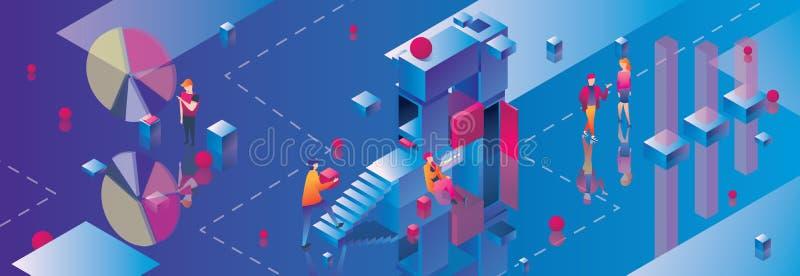 Έμβλημα έννοιας για το ξεκίνημα ή τη μικρή επιχείρηση Μπλε υπόβαθρο, isometric κύβοι, άνθρωποι που περπατά και που μιλά Οριζόντιο διανυσματική απεικόνιση