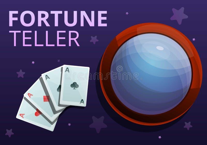 Έμβλημα έννοιας καρτών παιχνιδιού αφηγητών τύχης, ύφος κινούμενων σχεδίων απεικόνιση αποθεμάτων
